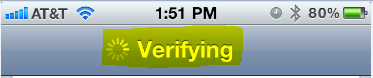 iPhone Verifying message